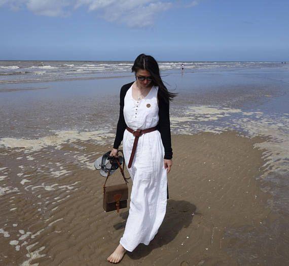 White Linen Dress Loose Dress with Pockets Handmade Dress
