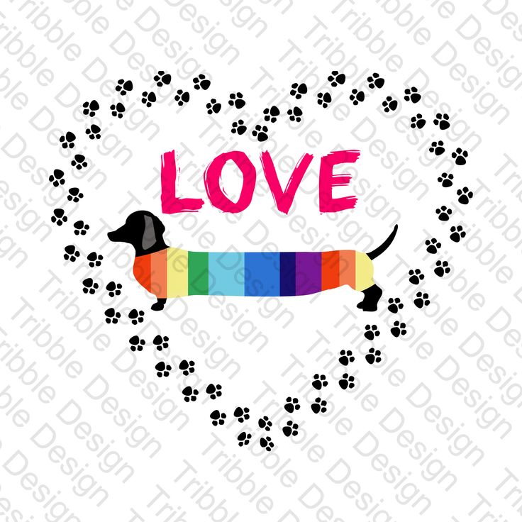 Download Love Dachshunds, Weiner Dogs, Heart with Pawprints ...