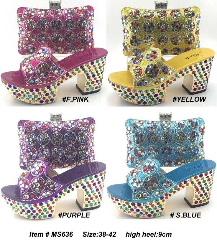 Italian ladies shoes and matching bags metallic bag fabric mesh for stones stock lots in guangzhou
