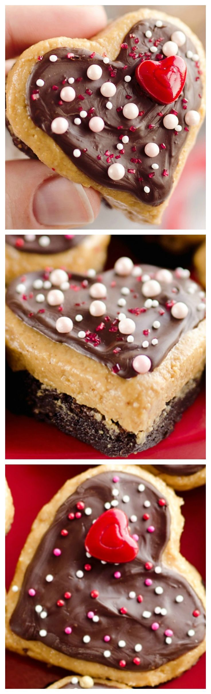 Peanut Butter Buckeye Brownie Hearts ~ They combine two of the best desserts into one amazing treat with brownies and peanut butter buckeyes!