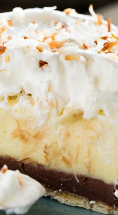 Black Bottom Coconut Pie. Coconut Cream Pie with a layer of chocolate on the bottom.