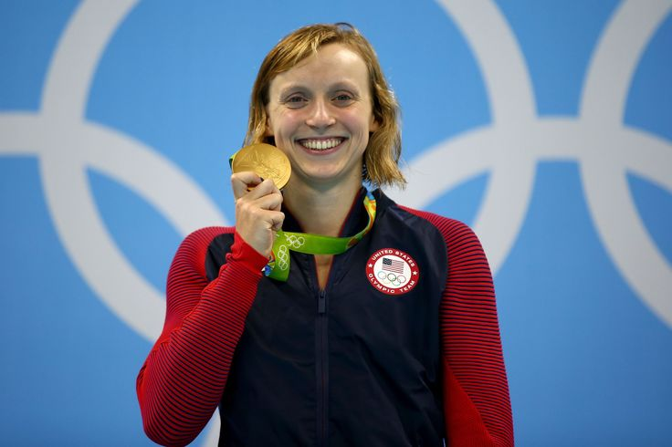VIDEO:   August 13, 2016  -    Katie Ledecky of United States celebrates on the podium after winning gold in the Women's 800m Freestyle Final on Day 7 of the Rio 2016 Olympic Games at the Olympic Aquatics Stadium on August 12, 2016 in Rio de Janeiro, Brazil.