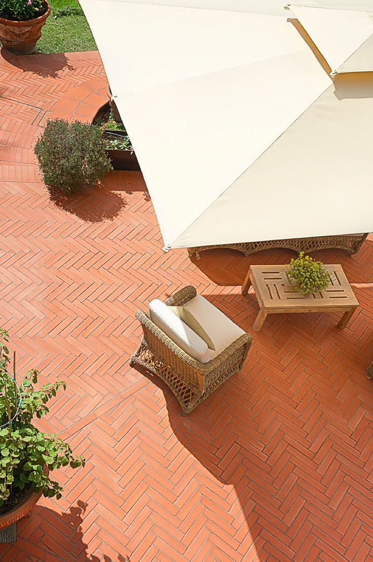 Outdoor Patio Umbrella And Brick Design