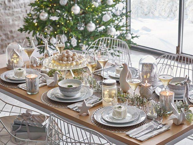 Le blanc et la transparence, pour une jolie table de fête, chic et simple