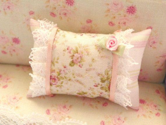 dollhouse  shabby chic miniatures pillow by Mondinadollhouse, €5.50