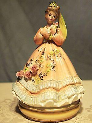 Josef original music box figurine - Beautiful lady with flowers/ebay