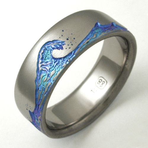 wave wedding band | ... titanium ring with waves | Titanium wedding rings with waves