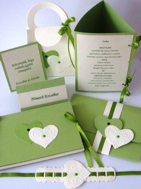 Wedding. Esküvő - meghívó, album, ültetőkártya,  menűkártya, szalvétagyűrű. Milevi, meska.hu