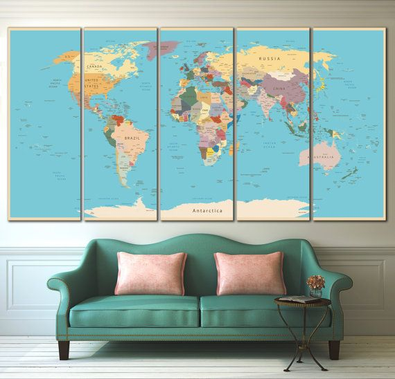 Highly Detailed Push Pin Personalized World Map with Vintage Color, Travel Map, Large World Map, World Map Art, Travel Gift, Travel Memories