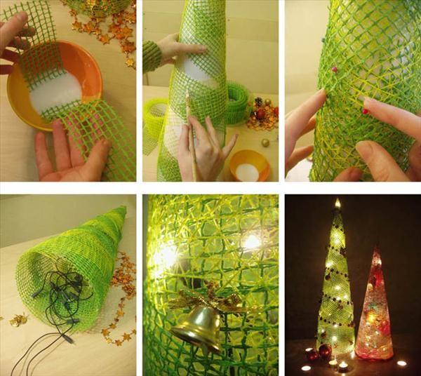 handmade christmas home decorations tree mesh christmas lights