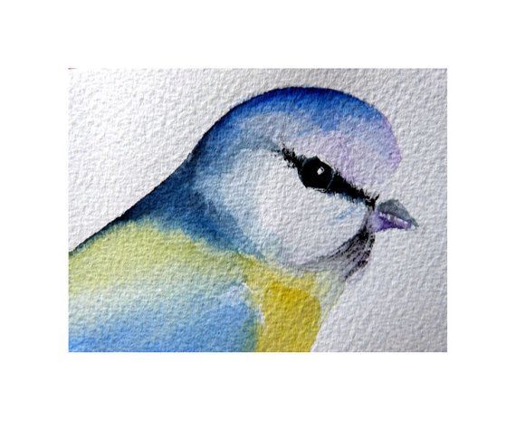 ACEO ATC Limited Edition Print of Original Painting Blue Tit Bird Alison Langridge Endunamis Sussex England, UK on Etsy, £2.65