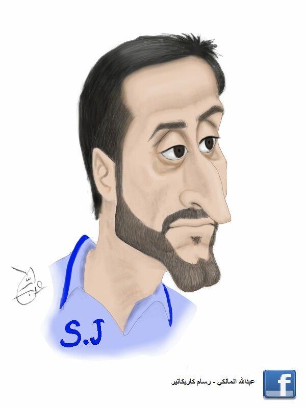 caricature portrait  sami aljaber saudi arabia  alhelal سامي الجابر قطر الهلال  بورتريه كاريكاتير