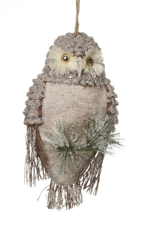 """7""""x13"""" Bardwood Hanging Owl w/Ice"""