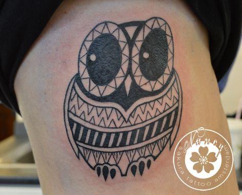 Owl with geometric patterns Horror Vacui Tattoo Nancy