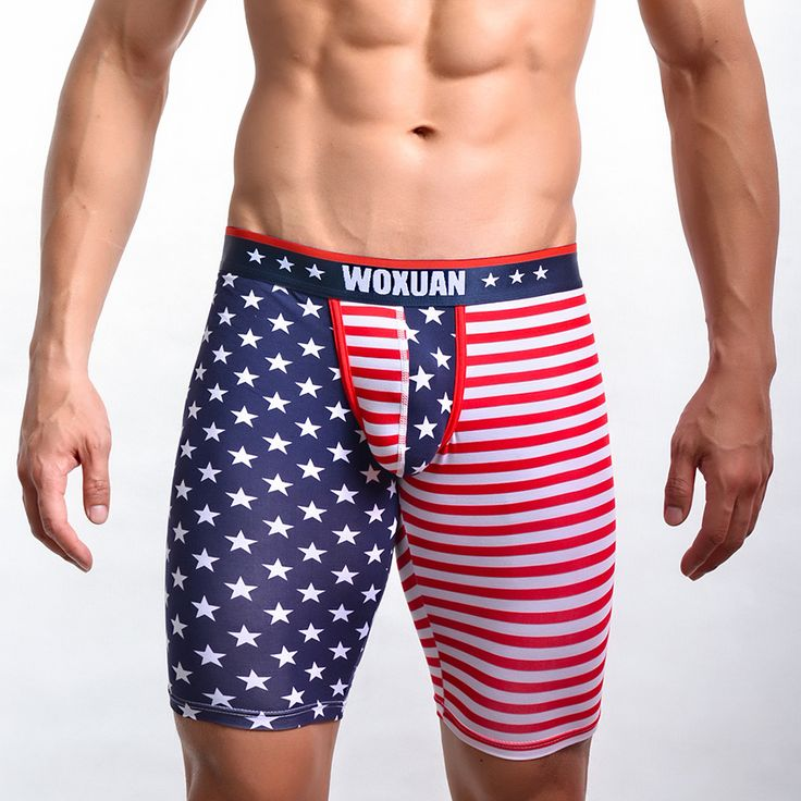 Men Sexy Brand American Flag Skinny Cotton Pajama Pants/Male Spandex Leggings Bottoms/Gay Sleeping Pouch Tights