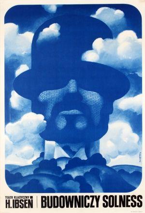 Budowniczy Solness Swierzy 1971 - original vintage Polish theatre poster by Waldemar Swierzy for the play Budowniczy Solness / The Master Builder written by Henrik Johan Ibsen, listed on AntikBar.co.uk