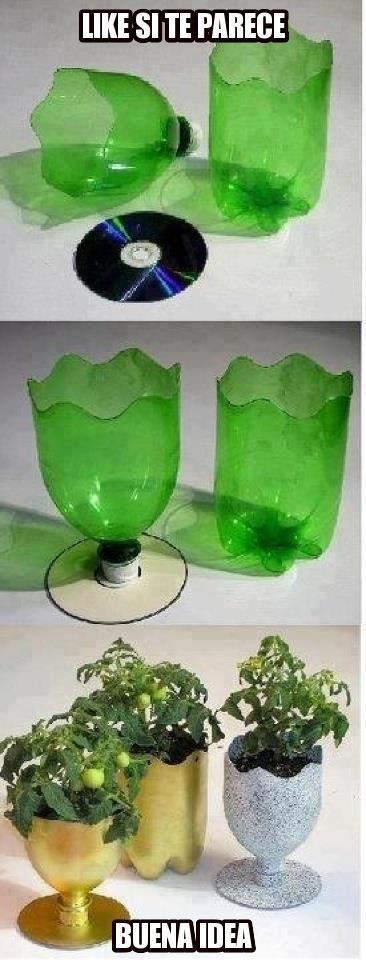 Idea de macetas con botellas recicladas!(: