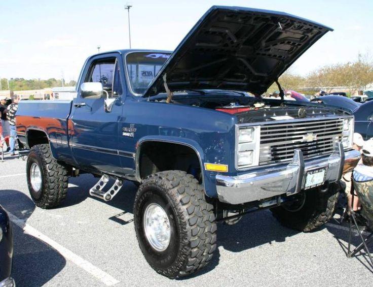 lifted blue gmc sierra truck hood open   GMC   Pinterest ...