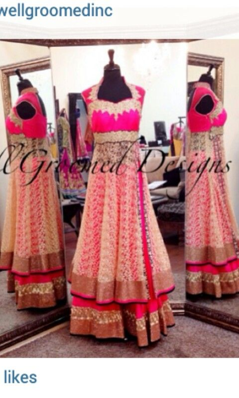 Pink lacha with bodice bordered with purple and gold details