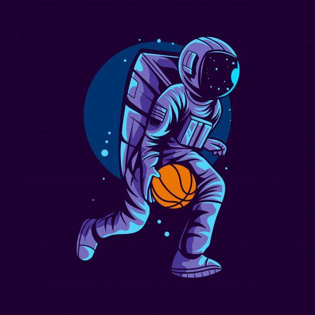 Astronaut Running Basketball Illustration Isolated On Dark Background Astronaut Art Astronaut Illustration Superhero Wallpaper