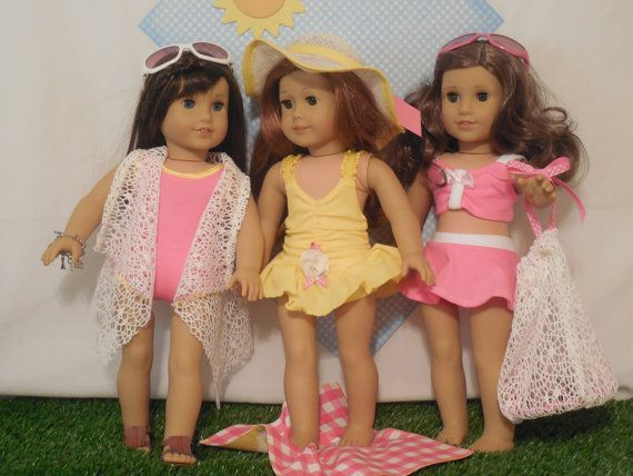 """American Girl Doll Clothes--""""Hot Pink"""" one-piece swimsuit and cover-up;"""