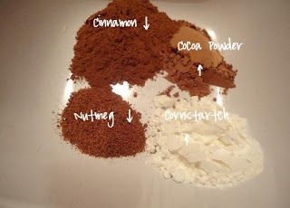 Make your own bronzer! Cinnamon, Nutmeg, Cocoa Powder, Cornstarch