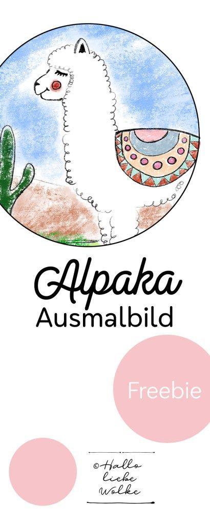 Ausmalbild Alpaka (Freebie Malvorlage) - #Alpaka #