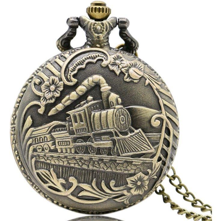 Retro Bronze Steampunk Pocket Watch Train Front Locomotive Engine Necklace Men Women Pendant Quartz Watch Child Birthday Gift