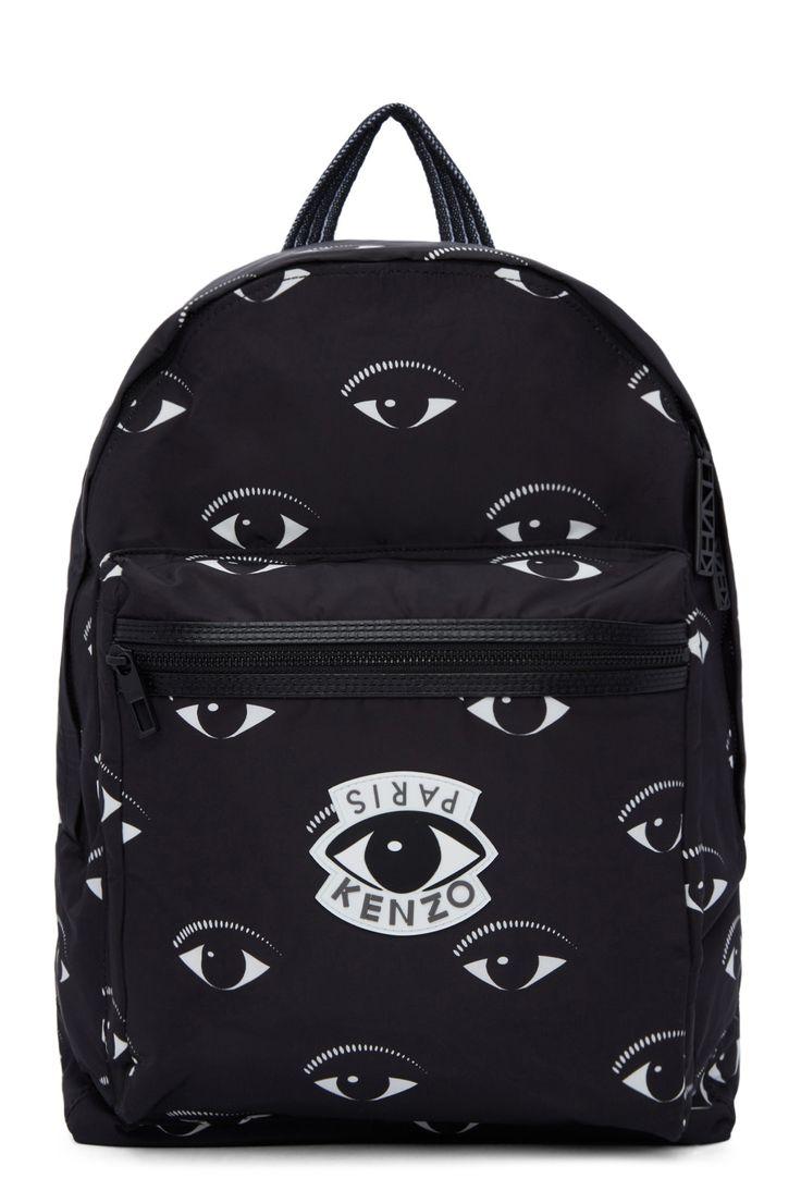 Black Nylon Eye Backpack