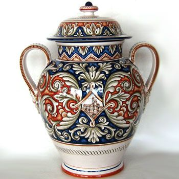 FIMA Italian Ceramic Jar - Baroque in Blue with Italian Village