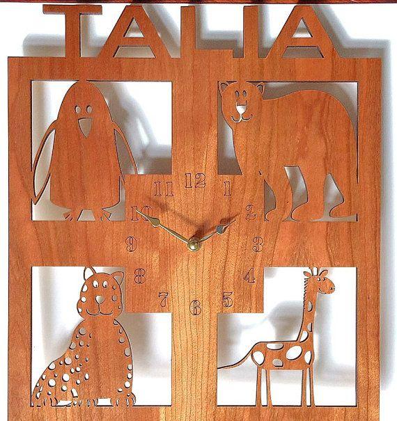 Personalized wall clock, Kids wall clock, large wall clock, Personalized gift, wood wall clock, animal clock, kids room decor