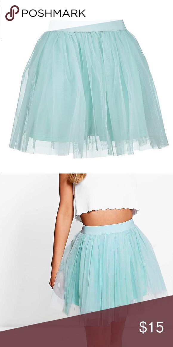 NWT! Boohoo Tulle Mini Skirt size 10 NWT! Channel your inner Carrie Bradshaw with this adorable mini tulle skirt in an eye-catching robin's egg blue! This skirt lets you be flirty and concealed with a reliable lining beneath the mesh layers. Elastic waistband ensures a comfy and flattering fit! Also available as a bundle with the same skirt in gray. Boohoo Skirts Mini