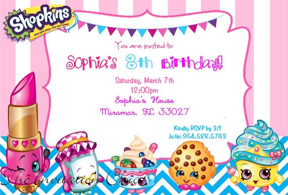 Personalized Girls Shopkins Inspired Party Digital Invitations ...