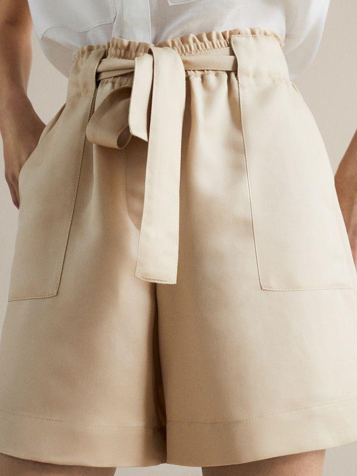 Bermuda Lyocell Lino Cinturon Mujer Massimo Dutti Espana Pantalones Bermudas De Mujer Pantalon Lino Mujer Pantalones Cortos De Mujer