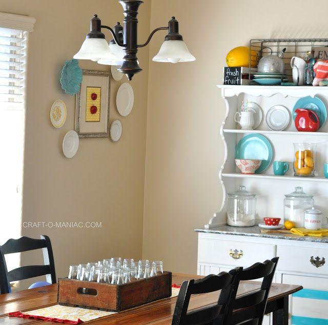 DIY colorful kitchen decor! #vintage #kitchen #color #sodacrates