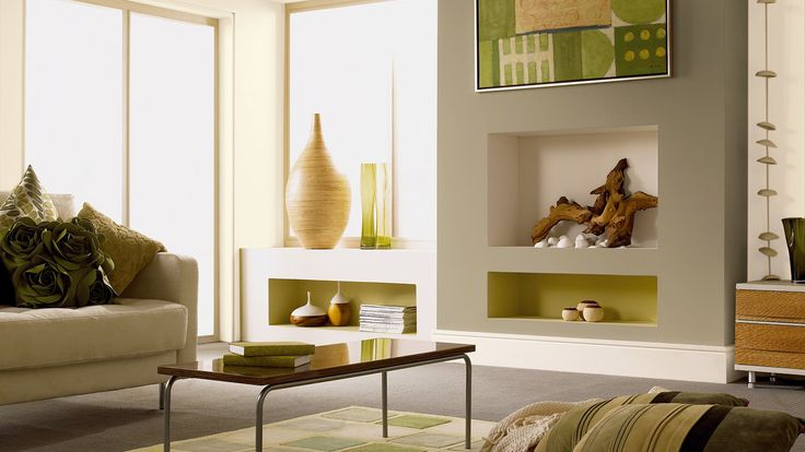 Living Room | Rooms | Dulux olive and almond white