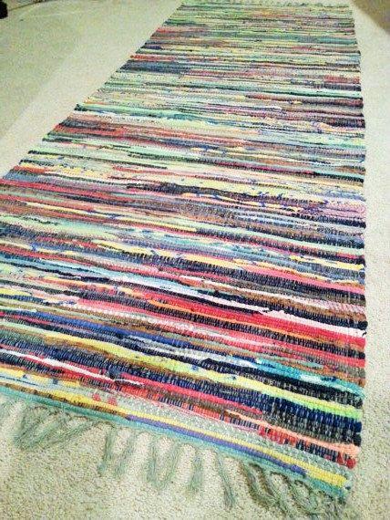 "Rag Rug Runner, Chindi Rugs, Boho Chic Area Rug, Colorful Hippie Rugs, Rag Rug Runners, Cotton Hand Woven Loom Rug, 2'4"" by 6"", Rustic Rugs"