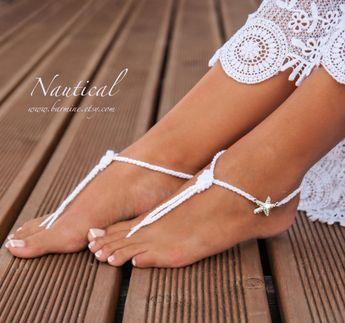Nautical Bridal Foot jewelry Rhinestone Starfish Beach wedding White Crochet Knot Barefoot Sandals Crystal wedding accessory, Beach wedding