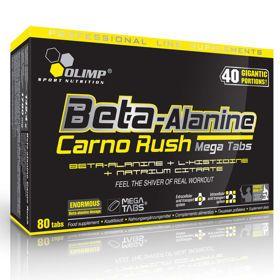 Beta Alanine carno Rush Mega Tabs 80 tabletek. Beta-alanine Carno Rush Mega Tabs® to suplement diety kierowany do osób uprawiających sporty wytrzymałościowo-siłowe, siłowe i wytrzymałościowe, w których wymagana jest wysoka wydolność fizyczna. #aminokwasy #suplementydiety #silownia