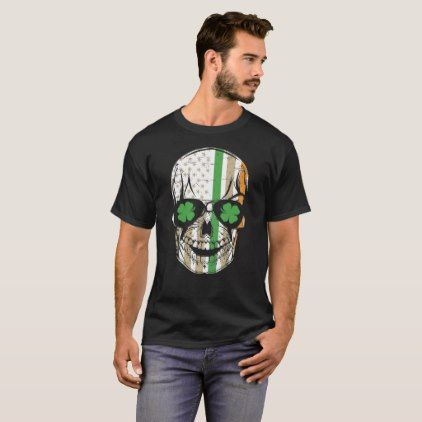 Irish Skull USA Flag T-Shirt - create your own personalize