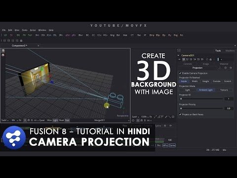 Fusion 8 Tutorial - Camera Projection - Create 3D Background with 2D Image - YouTube
