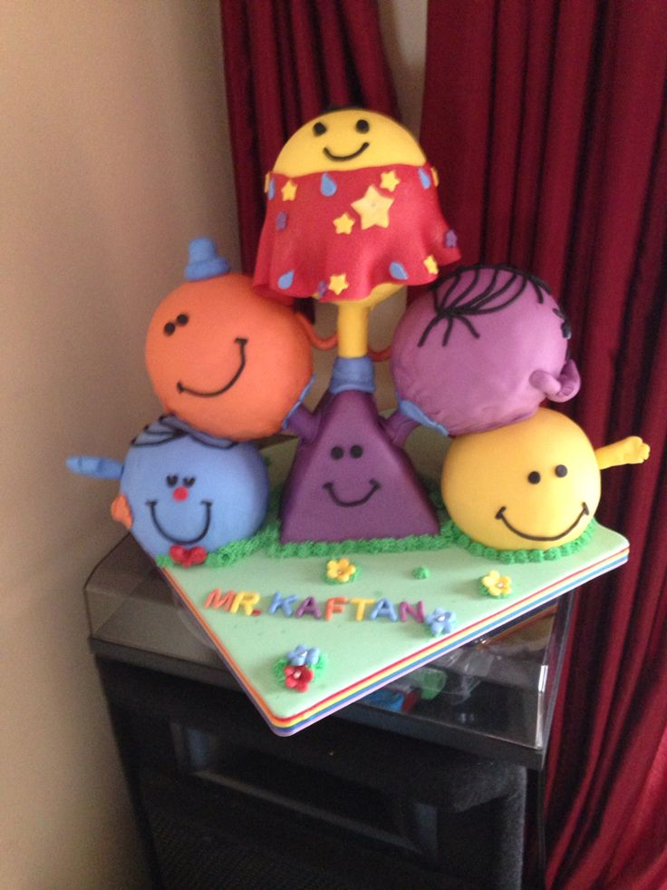 Mr Kaftan cake with Mr Men depicting the characteristics of the birthday boy Mr Kaftan- Mr Happy Mr Cheeky Me Tickle Mr Perfect & Little Muss Stubborn. Supported using Dawn Butler's Cake Frame