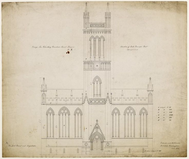 Ramshorn Kirk - elevation of South (Principal) front Titled: 'Design for Rebuilding Ramshorn Church Glasgow No X'  'For the Lord Provost and Magistrates'  'Plan of the Ground Floor with Pewing'  'Rickman and Hutchinson Architects, Birmingham  5 Ma. 1824'