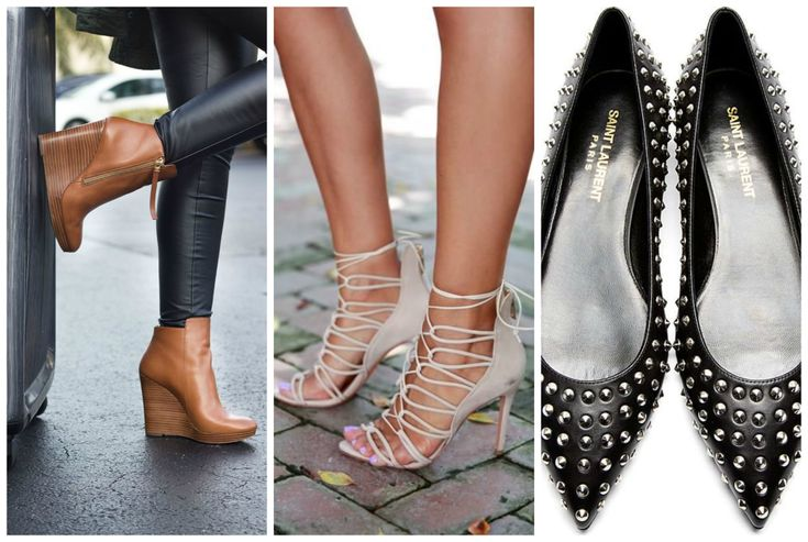 Shoes for apple shape body. Black ballerina flats, heeled sandals and brown wedges. Learn how to dress your apple body shape >>> http://justbestylish.com/how-to-dress-the-apple-figure/2/