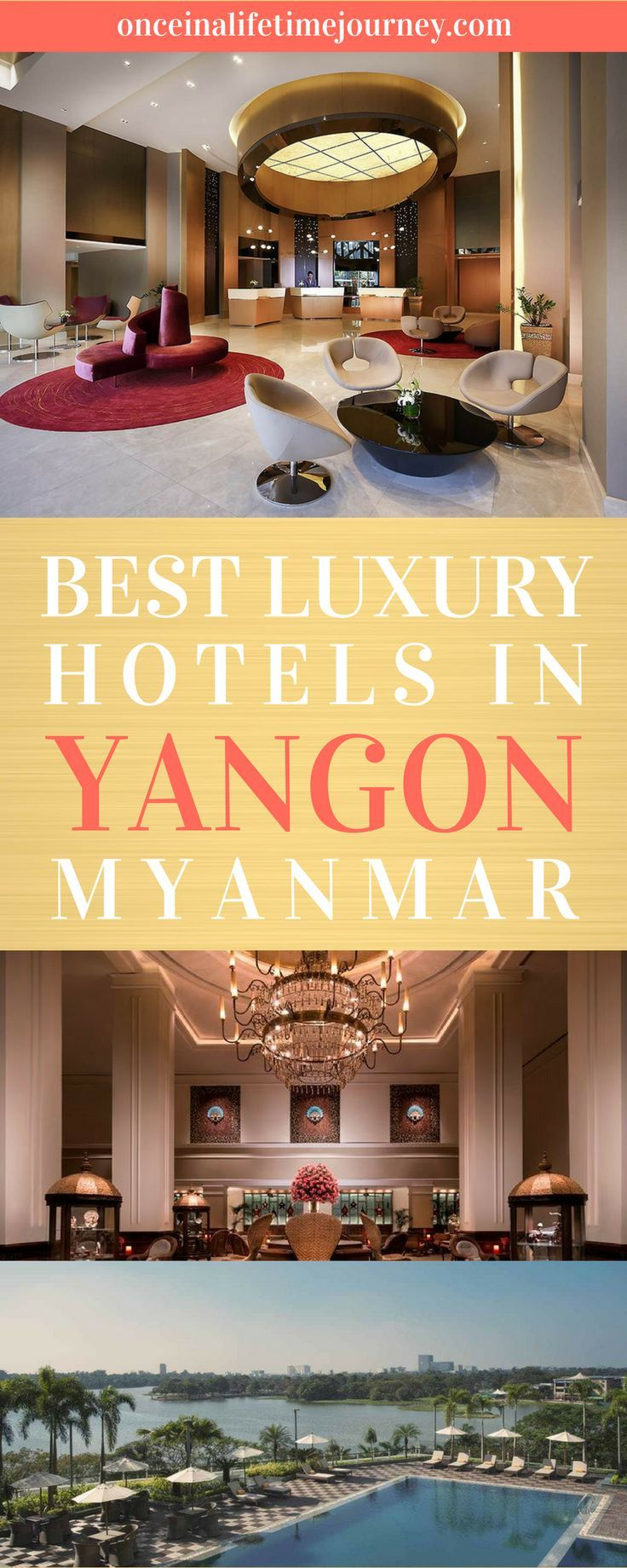 As Myanmar's main business center modernises and develops into a full-fledged Asian city, modern and luxury hotels in Yangon are springing up. Before you set off to more remote and harder to reach destinations, spend some time in the best luxury hotels in Yangon and set a base from where to explore the city's chaos mixed with modernity. Click through to see the best luxury hotels in Yangon, Myanmar. | Once in a Lifetime Journey #myanmar #luxuryhotels #yangon #luxurytravel