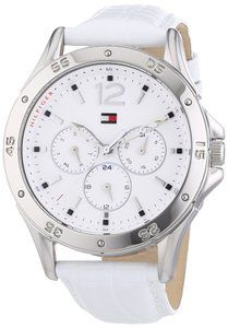 women watches:  Watches in white  Tommy Hilfiger White Dial White Leather Ladies Watch 1781300