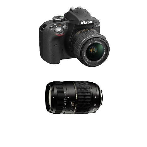 Nikon D3300 Kit Fotocamera Reflex Digitale con Obiettivo Nikkor 18/55VR II new F, 24.2 Megapixel, LCD 3 Pollici, SD 8GB 200x Premium Lexar, Nero [Nital card: 4 anni di garanzia] + Tamron AF 70 - 300 F/4 - 5.6 Di Obiettivo Tele-zoom per Nikon