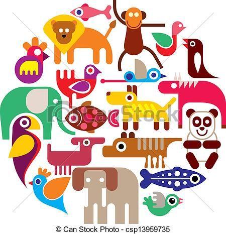 Vectors of Zoo Animals - round vector - Group of Animals - round ...