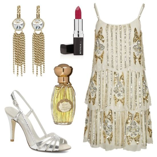 Conjunto años 20 en  blanco y dorado. Inspirado en El Gran Gatsby