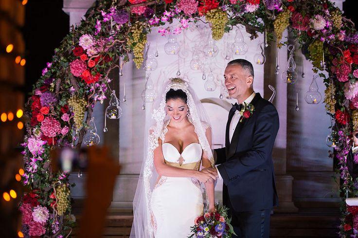 night ceremony, Wedding arch with grape, wedding dress Galia Lahav, burgundy decor